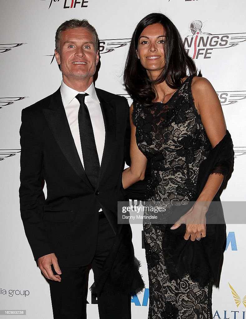 David Coulthard and Karen Minier attend a dinner and ball hosted by The Cord Club in aid of Wings For Life at One Marylebone on February 28, 2013 in London, England.