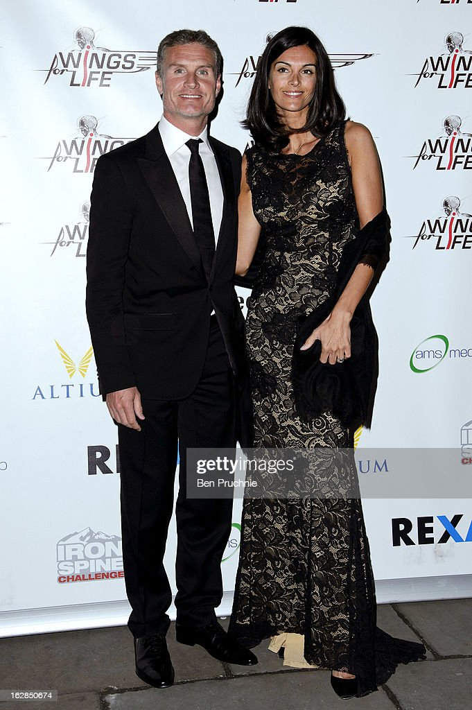David Coulthard and Karen Minier attends a dinner and ball hosted by The Cord Club in aid of Wings For Life at One Marylebone on February 28, 2013 in London, England.