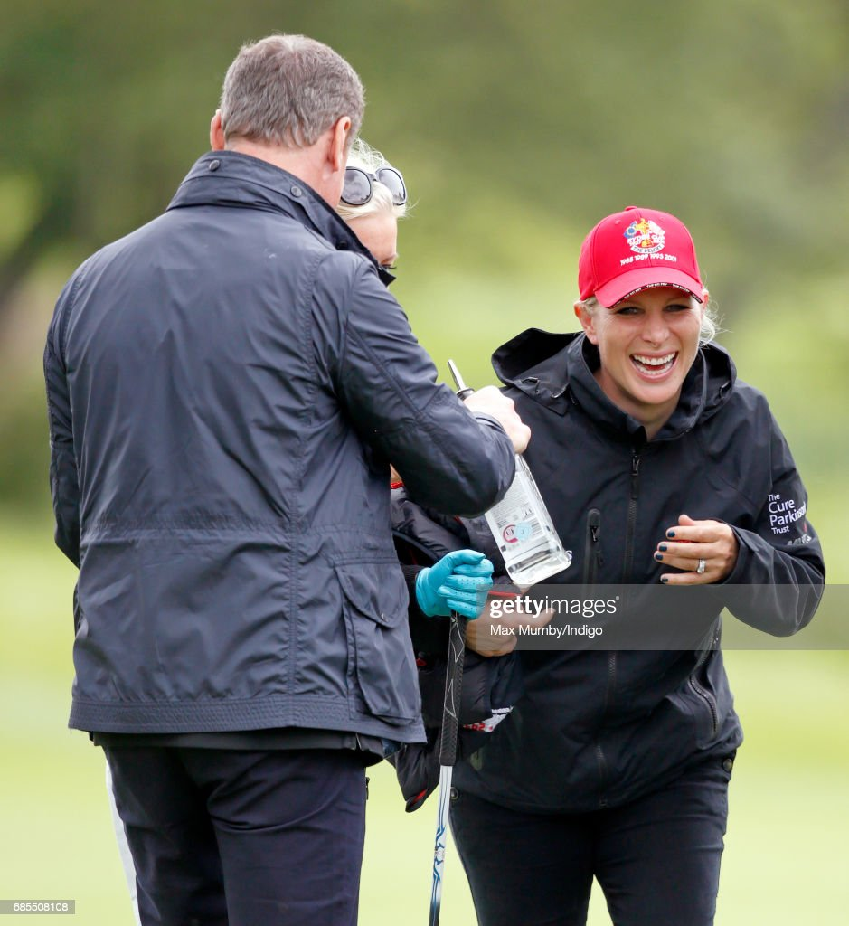 David Coulthard and Zara Phillips attend the 5th edition of the 'ISPS Handa Mike Tindall Celebrity Golf Classic' at The Belfry on May 19, 2017 in Sutton Coldfield, England.