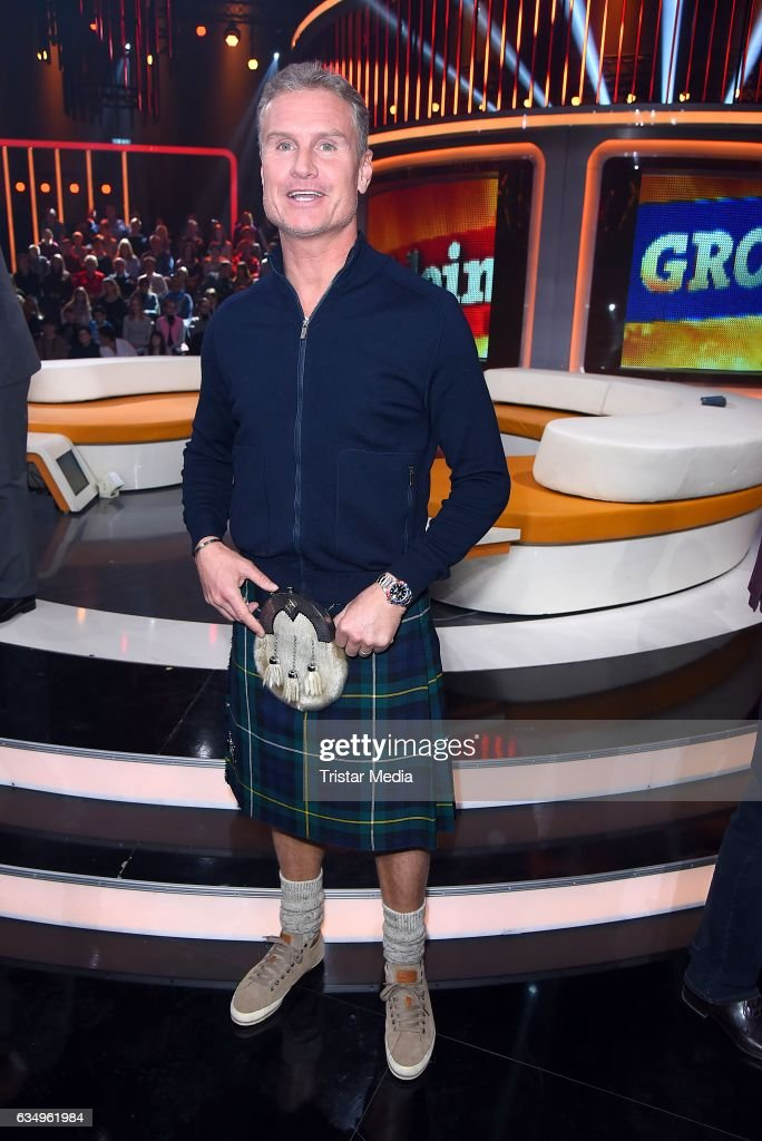 David Coulthard attends the 'Klein gegen Gross' TV Show on February 12, 2017 in Berlin, Germany.