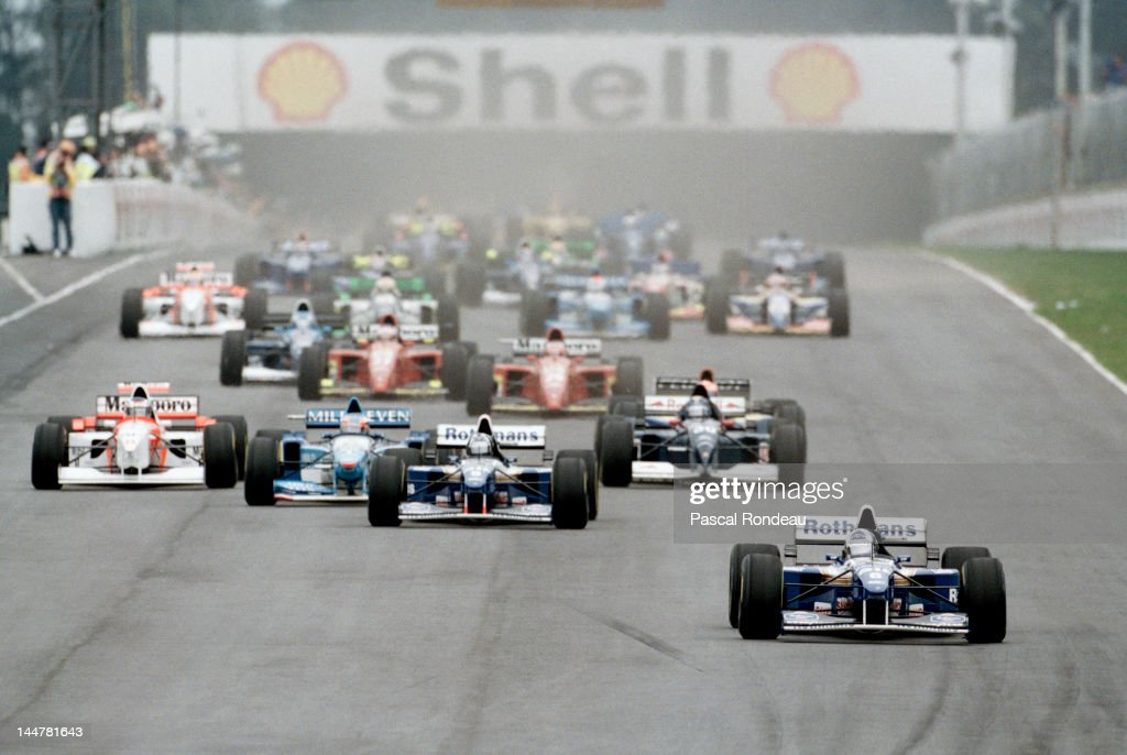 <a gi-track='captionPersonalityLinkClicked' href=/galleries/search?phrase=David+Coulthard&family=editorial&specificpeople=171316 ng-click='$event.stopPropagation()'>David Coulthard</a> of Great Britain leads the field from pole position driving the #6 Rothmans Williams Renault Williams FW17 Renault RS7 3.0 V10 at the start of the Marlboro Grand Prix of Argentina on 9th April 1995 at the Autodromo Oscar Alfredo Galvez in Buenos Aires, Argentina.
