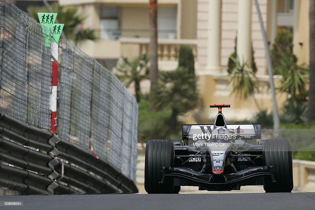 David Coulthard of Scotland and McLaren in action during practice for the Monaco F1 Grand Prix on May 20, 2004, in Monte Carlo, Monaco.