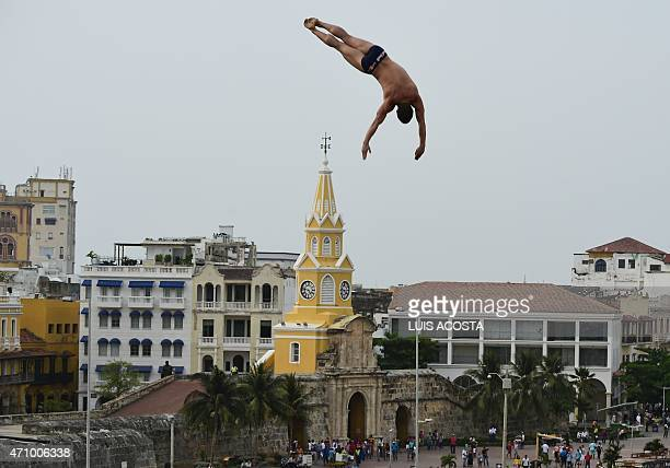 US David Coulturi makes a jump from the 27meterhigh platform during the Classification of Red Bull Cliff Diving World Series 2015 in Cartagena...