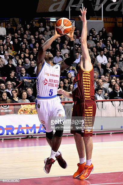 David Cournooh of Red October competes with Ariel Filloy of Umana during the LegaBasket of Serie A1 match between Reyer Umana Venezia and Red October...