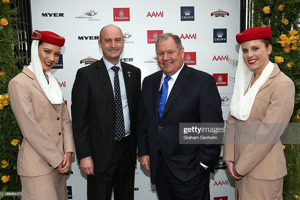 David Courtney and Lord Mayor of Melbourne Robert Doyle pose at the 2013 Melbourne Cup Carnival Launch at Flemington Racecourse on October 28, 2013 in Melbourne, Australia.