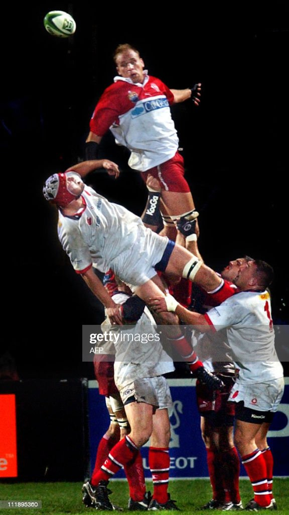 David Couzinet of Biarritz is top of the line out as the ball flies past during the UlsterBiarritz match at Ravenhill in the Heineken Cup 06 December...