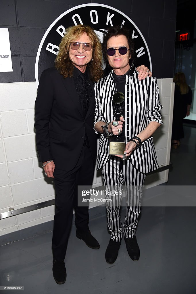 David Coverdale (L) and Glenn Hughes of Deep Purple attend the 31st Annual Rock And Roll Hall Of Fame Induction Ceremony at Barclays Center of Brooklyn on April 8, 2016 in New York City.