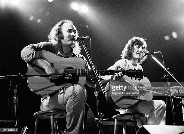 David Crosby and Graham Nash from Crosby Stills Nash perform live on stage at Concertgebouw in Amsterdam Netherlands in 1976