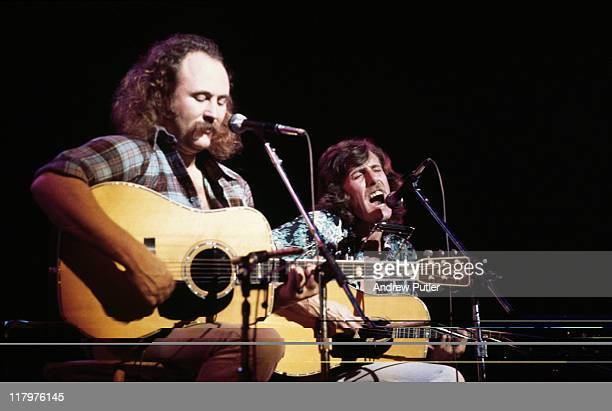 David Crosby and Graham Nash of US folk rock band Crosby Stills Nash playing their guitars on stage during a live concert performance at the...