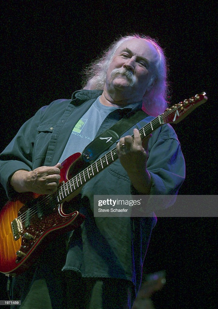 David Crosby, of Crosby, Stills and Nash, performs May 3, 2003 during the Music Midtown concert in Atlanta, Georgia. The Music Midtown event features over 120 international, national and local musical acts performing on 11 stages over a 3-day period at a 40 acre complex.