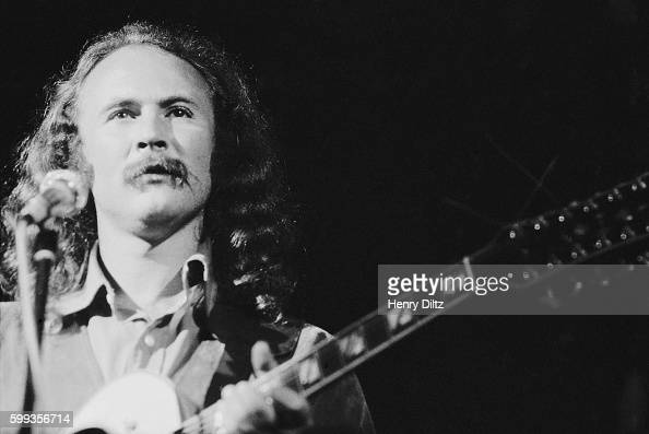 David Crosby of Crosby Stills Nash performs at the free Woodstock Music and Art Fair The festival took place on Max Yasgur's dairy farm which he...