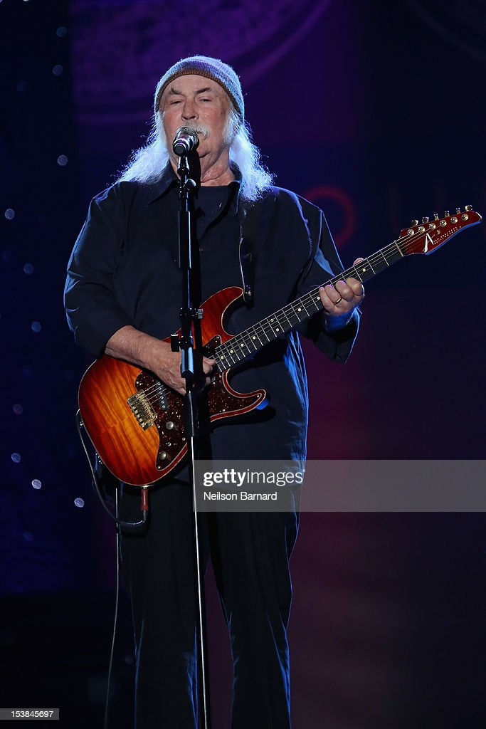David Crosby performs onstage at the One World Concert at Syracuse University on October 9, 2012 in Syracuse, New York.