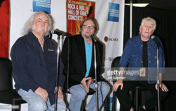 David Crosby Stephen Stills and Graham Nash of Crosby Stills and Nash attend the 25th Anniversary Rock Roll Hall of Fame Concert at Madison Square...