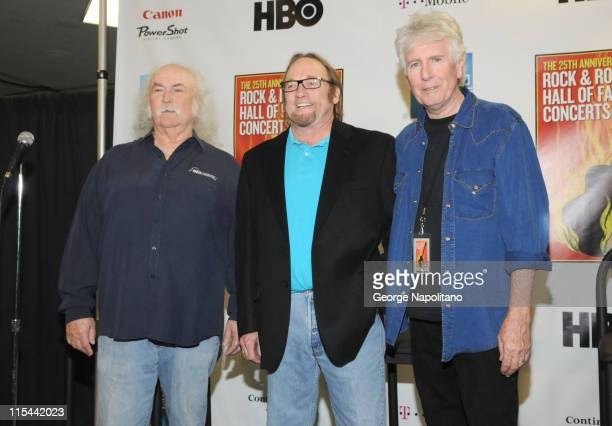 David Crosby Stephen Stills and Graham Nash of Crosby Stills and Nash attend the 25th Anniversary Rock Roll Hall of Fame Concert at Madison Square...