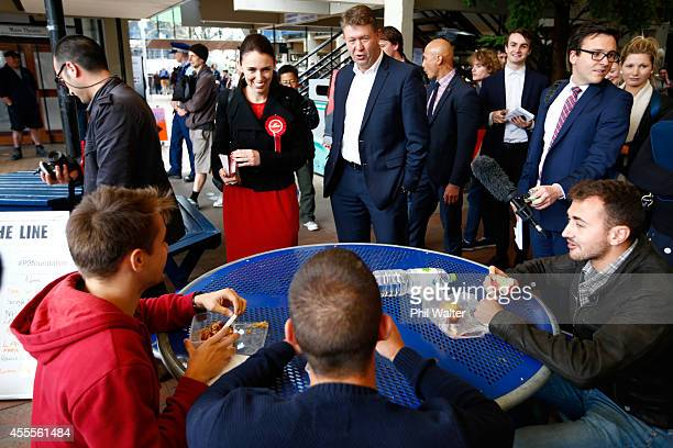 David Cunliffe Leader of the Labour Party and Auckland Centralbased MP Jacinda Ardern visit students at Auckland University on September 17 2014 in...