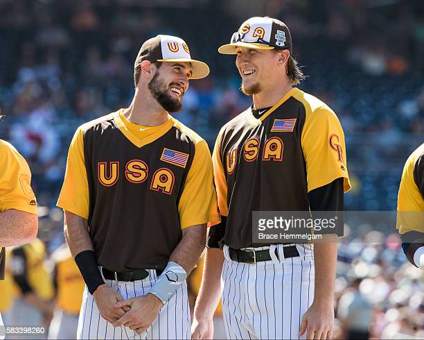 David Dahl and Jeff Hoffman of the Colorado Rockies and Team USA look on prior to the SiriusXM AllStar Futures Game Petco Park on Tuesday July 10...