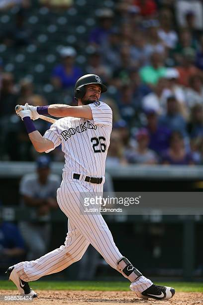 David Dahl of the Colorado Rockies bats against the Los Angeles Dodgers at Coors Field on August 31 2016 in Denver Colorado