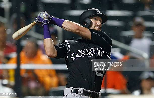 David Dahl of the Colorado Rockies hits a two run home run against the New York Mets during the fourth inning of a game at Citi Field on July 30 2016...