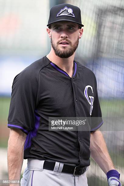 David Dahl of the Colorado Rockies looks on before a baseball game against the Baltimore Orioles at Oriole Park at Camden Yards on July 27 2016 in...