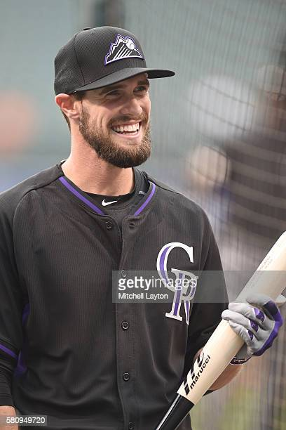 David Dahl of the Colorado Rockies looks on during batting practice of a baseball game against the Baltimore Orioles at Oriole Park at Camden Yards...
