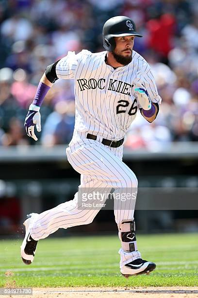 David Dahl of the Colorado Rockies runs during the game against the Washington Nationals at Coors Field on August 17 2016 in Denver Colorado The...