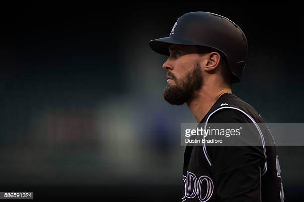 David Dahl of the Colorado Rockies stands in the on deck circle before batting in the first inning of a game against the Los Angeles Dodgers at Coors...