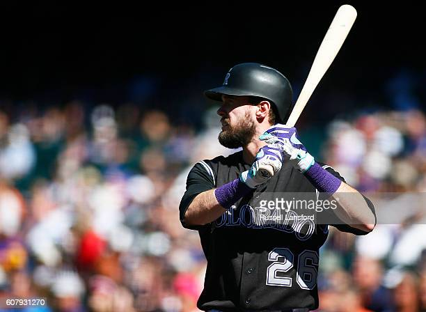 David Dahl of the Colorado Rockies stands in the ondeck circle during a regular season MLB game between the Colorado Rockies and the visiting San...