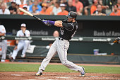 David Dahl of the Colorado Rockies takes a swing in his first major league at bat in his debut during a baseball game against the Baltimore Orioles...