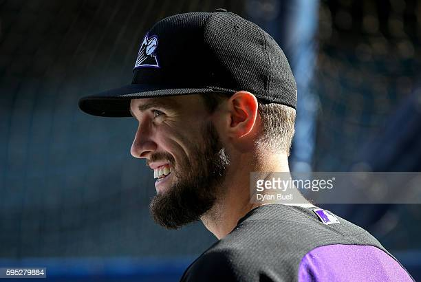 David Dahl of the Colorado Rockies takes batting practice before the game against the Milwaukee Brewers at Miller Park on August 22 2016 in Milwaukee...