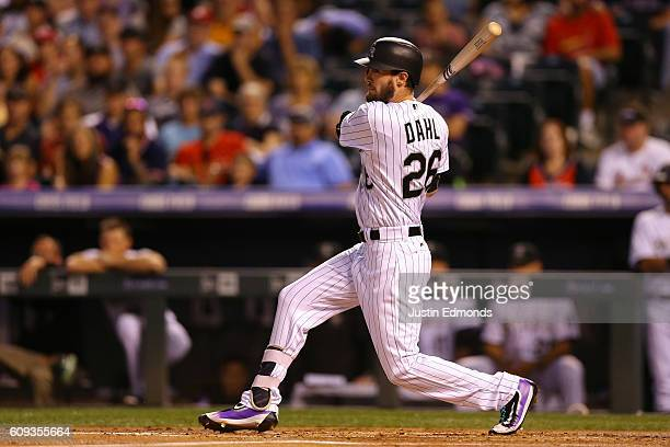 David Dahl of the Colorado Rockies watches his RBI single during the first inning against the St Louis Cardinals at Coors Field on September 20 2016...