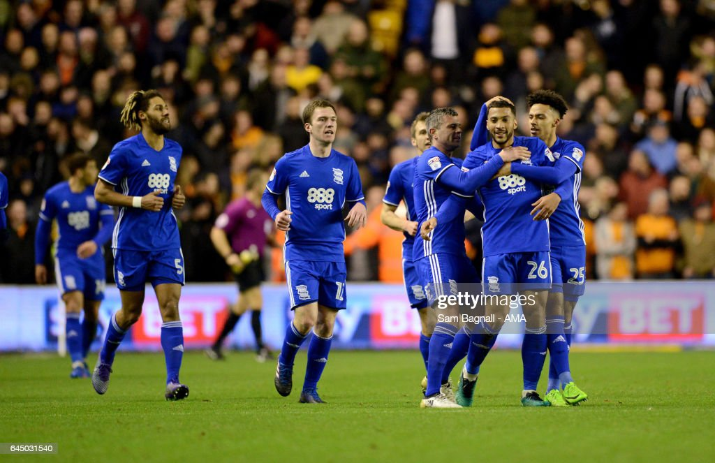 David Davies of Birmingham City celebrates after scoring a goal to make it 0-2 during the Sky Bet Championship match between Wolverhampton Wanderers and Birmingham City at Molineux on February 24, 2017 in Wolverhampton, England.