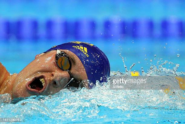 David Davies of City of Cardiff competes in the Men's 1500m Freestyle Final during day eight of the British Gas Swimming Championships at The London...