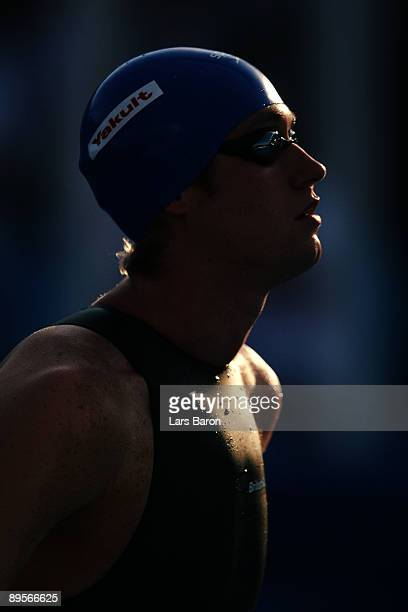 David Davies of Great Britain competes in the Men's 1500m Freestyle Final during the 13th FINA World Championships at the Stadio del Nuoto on August...