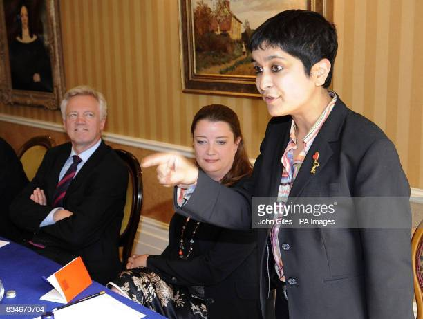 David Davis and Rachel North a survivor of the July 7 terrorist attacks listen to Liberty Director Shami Chakrabarti at the final press conference...