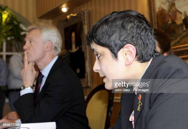 David Davis listens to Liberty Director Shami Chakrabarti at the final press conference before the Haltemprice and Howden byelection tomorrow