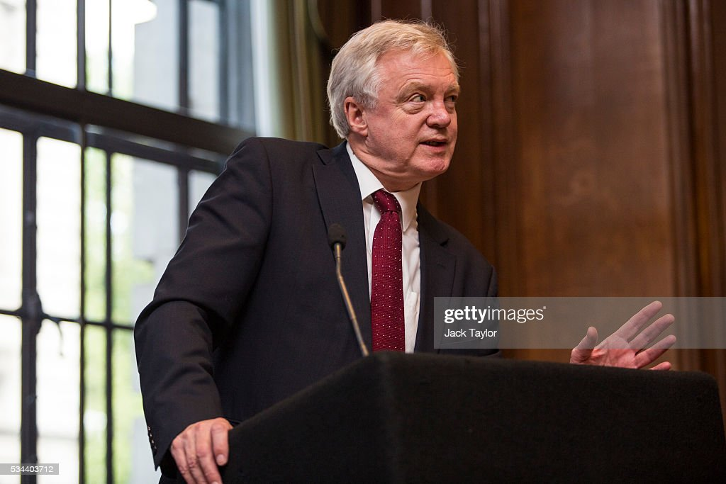 David Davis, the former Shadow Home Secretary of the Conservative Party, delivers a speech in Westminster on May 26, 2016 in London, England. Mr Davis today warned of the potential cost to British jobs if Britain votes to remain in the European Union, as he campaigns for a vote to leave ahead of the June 23rd EU referendum.