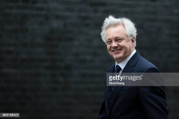 David Davis UK exiting the European Union secretary arrives for a weekly cabinet meeting in Downing Street London UK on Tuesday March 14 2017 On...
