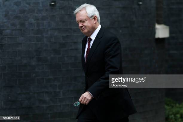 David Davis UK exiting the European Union secretary arrives for a special cabinet meeting at number 10 Downing Street in London UK on Thursday Sept...