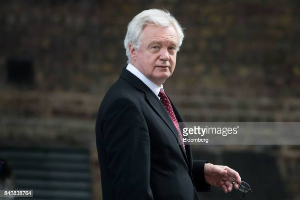 David Davis UK exiting the European Union secretary leaves after a weekly meeting of cabinet ministers at number 10 Downing Street in London UK on...