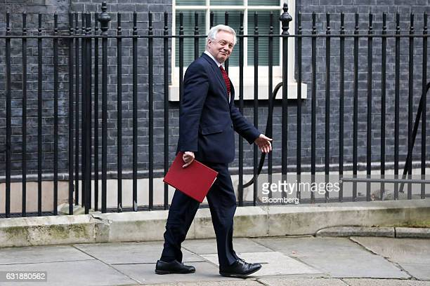 David Davis UK exiting the European Union secretary leaves following a weekly cabinet meeting at 10 Downing Street in London UK on Tuesday Jan 17...