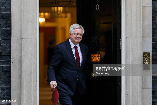 David Davis UK exiting the European Union secretary leaves following a weekly cabinet meeting at 10 Downing Street in London UK on Tuesday Jan 31...