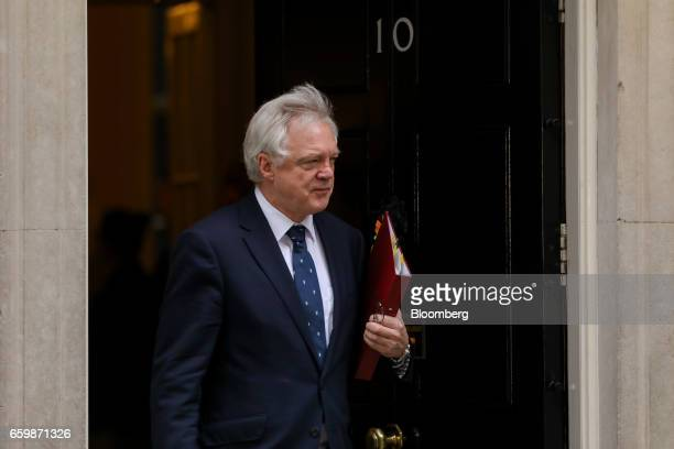 David Davis UK exiting the European Union secretary leaves following a cabinet meeting at Downing Street in London UK on Wednesday March 29 2017 The...