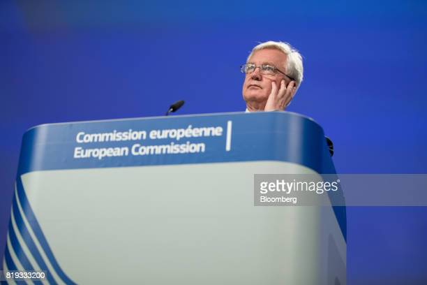 David Davis UK exiting the European Union secretary looks on during a news conference following the second round of Brexit negotiations in Brussels...