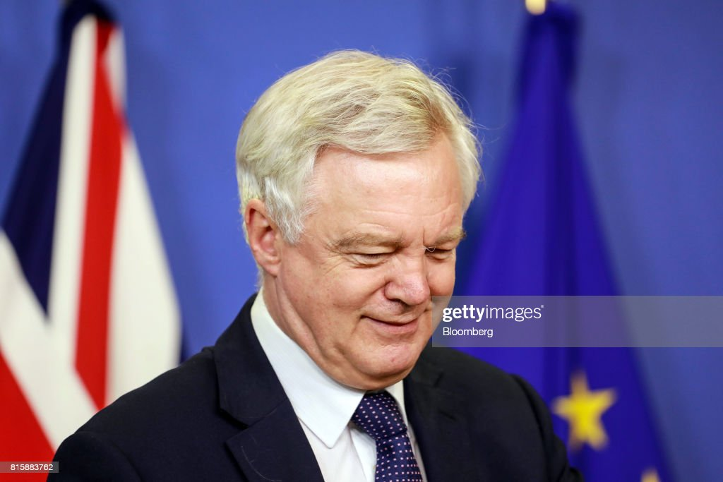 David Davis, U.K. exiting the European Union (EU) secretary, reacts as he arrives ahead of Brexit negotiations in Brussels, Belgium, on Monday, July 17, 2017. 'Brexit talks made a good start last month, we are now entering into the substance', Davis said ahead of meeting with EU's Brexit negotiator Michel Barnier. Photographer: Dario Pignatelli/Bloomberg via Getty Images