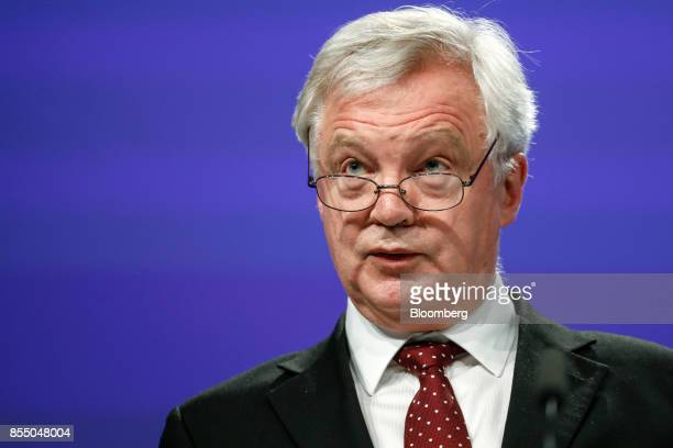 David Davis UK exiting the European Union secretary speaks during a press conference following Brexit negotiations in Brussels Belgium on Thursday...