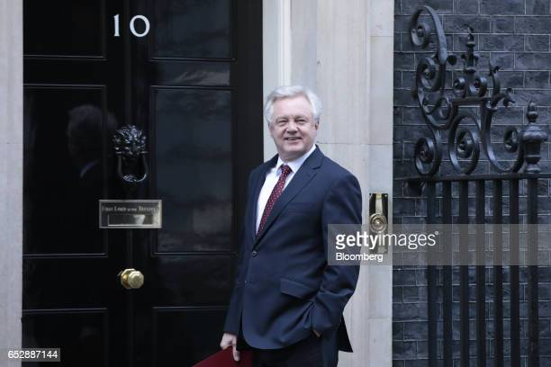 David Davis UK exiting the European Union secretary stands outside number 10 Downing Street in London UK on Monday March 13 2017 The House of Commons...