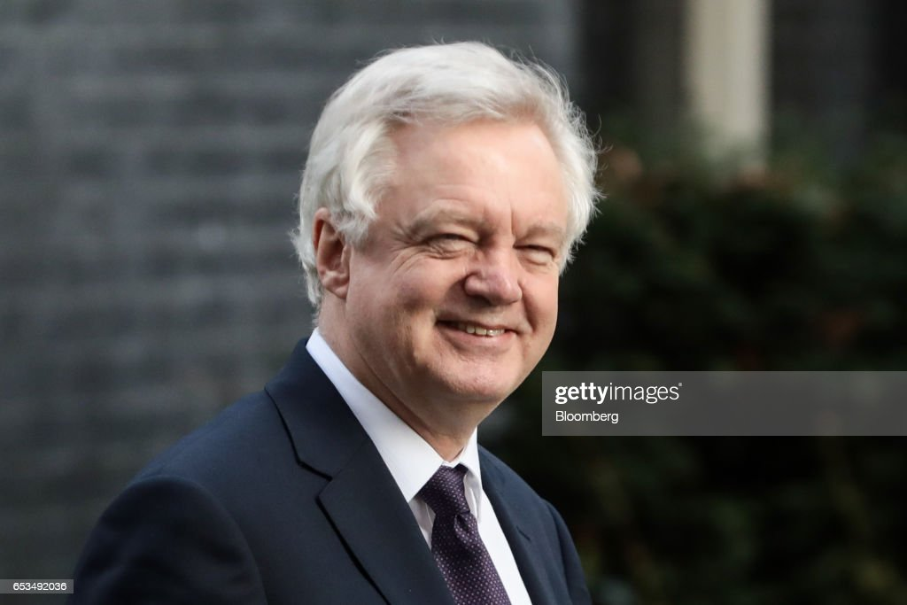 David Davis, U.K. exiting the European Union (EU) secretary, walks in Downing Street in London, U.K., on Wednesday, March 15, 2017. The European Union is considering forcing the U.K. to wait until June for formal negotiations to begin on the terms of Brexit, eroding the time U.K. Prime Minister Theresa May has to land a deal, according to EU officials. Photographer: Simon Dawson/Bloomberg via Getty Images