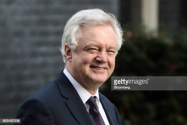 David Davis UK exiting the European Union secretary walks in Downing Street in London UK on Wednesday March 15 2017 The European Union is considering...