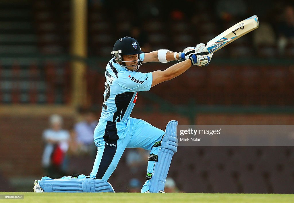 David Dawson of the Blues bats during the Ryobi One Day Cup match between the New South Wales Blues and the Western Australia Warriors at Sydney Cricket Ground on January 30, 2013 in Sydney, Australia.