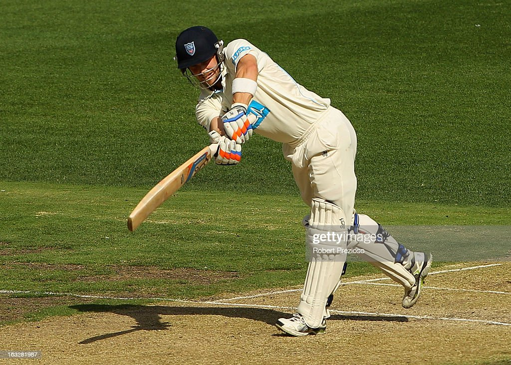 David Dawson of the Blues plays a shot during day one of the Sheffield Shield match between the Victorian Bushrangers and the New South Wales Blues at Melbourne Cricket Ground on March 7, 2013 in Melbourne, Australia.